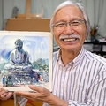 水彩画を描く工程をYoutubeで配信する柴崎さん。海外からも反響は高い