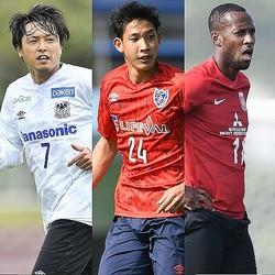 沖縄キャンプで存在感を見せていた選手たち。左から遠藤(G大阪)、原(FC東京)、マルティノス(浦和)。写真:金子拓弥(サッカーダイジェスト写真部)