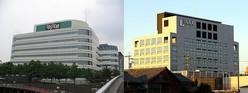 旧トステム(左)、旧INAX(右)両社のかつての本社ビル(ともにTo-emonさん撮影、Wikimedia Commonsより。J-CASTニュース編集部が一部加工)