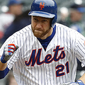 NEW YORK, NEW YORK - APRIL 28: Todd Frazier #21 of the New York Mets reacts as he runs to first base after hitting an RBI single to center in the first inning against the Milwaukee Brewers at Citi Field on April 28, 2019 in the Flushing neighborhood of the Queens borough of New York City. (Photo by Michael Owens/Getty Images)