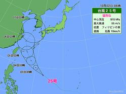 2日午前6時の台風25号の位置と5日間進路予想。