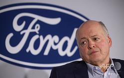 米ニューヨークで記者会見に臨むフォードのジム・ハケットCEO(2019年7月12日撮影)。(c)AFP/Johannes EISELE