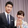 江宏傑さん(左)と福原愛さん=2016年9月撮影