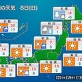 8日の天気 東京など青空復活