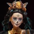 メキシコの首都メキシコ市で展示された、「死者の日」バージョンのバービー人形(2019年9月12日撮影)。(c)PEDRO PARDO / AFP