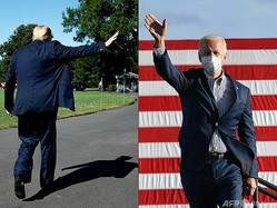 米国のドナルド・トランプ前大統領(左)とジョー・バイデン新大統領(2021年1月15日作成)。(c)JIM WATSON and Angela Weiss / AFP