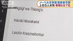 ノーベル文学賞 受賞予想 村上春樹さん人気に異変