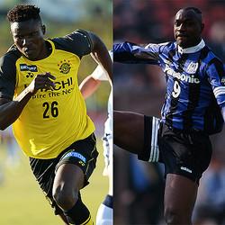 """アフリカ出身のオルンガ(写真左/ケニア出身)とエムボマ(写真右/カメルーン出身)。どちらも""""怪物""""と呼ぶに相応しいハイレベルなストライカーだ。(C)SOCCER DIGEST、J.LEAGUE PHOTOS"""