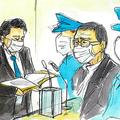 論告求刑公判に出廷した野村被告(中央)と田上被告(右端)=福岡地裁
