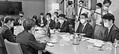 (写真)日本学術会議事務局から話を聞く(右から)奥野、塩川、黒岩、山井の各氏=12日、東京都港区