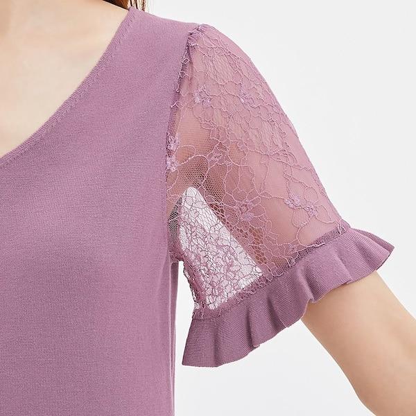 透け感のある「レース袖」で可愛さも色気も演出! GUで今すぐチェックを。
