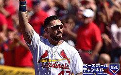 ST LOUIS, MO - SEPTEMBER 05: Rangel Ravelo #47 of the St. Louis Cardinals receives a curtain call after hitting his first Major League home run in the eighth inning against the San Francisco Giants at Busch Stadium on September 5, 2019 in St Louis, Missouri. (Photo by Jeff Curry/Getty Images)