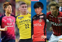 (左から)瀬古(C大阪)、M・サヴィオ(柏)、相馬(名古屋)、荻原(浦和)。いずれも粋のいい若手だ。(C)SOCCER DIGEST