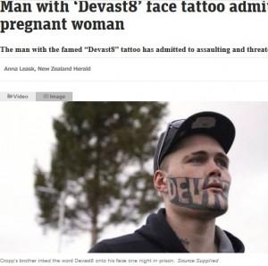 [画像] 【海外発!Breaking News】顔に派手なタトゥーの再犯者、人生やり直しができない原因は「メディアの過剰報道」と発言(ニュージーランド)