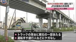 高架橋→道路 90キロ分の線路敷石が落下