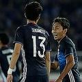 """倉田の2戦連続弾、杉本の代表初ゴールで日本が前半2-1リード W杯への""""サバイバル""""は後半へ"""