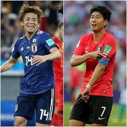 日本代表は乾(左)をはじめ、スタメン中10人が欧州組。かたや韓国代表はわずか3人と差がついた。大黒柱ソン・フンミン(右)への依存度の高さが問題視されている。(C)Getty Images