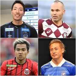 イニエスタ(右上)、仲川(右下)、チャナティップ(左下)、そして昌子(左上)。2020年シーズンのJ1を間違いなく沸かせるだろう主役候補たちだ。(C)SOCCER DIGEST
