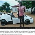 21歳青年と自作のランボルギーニ(画像は『News24 2021年3月10日付「Meet the 21-year-old Limpopo man who spent 4 years building his own Lamborghini from scratch」』のスクリーンショット)