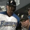 22号2ランを放った日本ハム・中田翔(左)【画像:パーソル パ・リーグTV】