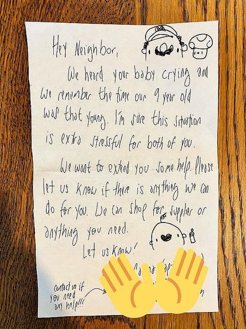 「赤ちゃんの泣き声が聞こえるんだけど…」隣人からの手紙がお母さんへの思いやりにあふれていた