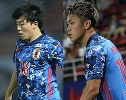 今大会で1ゴールずつを挙げている相馬(左)と食野(右)。不甲斐ない結果に終わったチームのなかで存在を示した。写真:佐藤博之