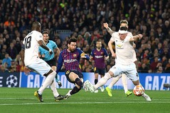 ユナイテッドとの第2戦、2ゴールを決めたバルセロナFWメッシ【写真:Getty Images】