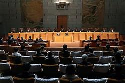 2019年参院選における一票の格差訴訟の判決が言い渡された最高裁大法廷=18日午後2時58分、東京都千代田区(代表撮影)