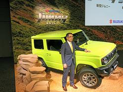 7月に発売した新型「ジムニー」の販売は絶好調(鈴木俊宏社長)