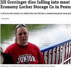 肉挽き機に巻き込まれて死亡した女性(画像は『news.com.au 2019年4月25日付「Jill Greninger dies falling into meat grinder at Economy Locker Storage Co in Pennsylvania」(Picture: Facebook)』のスクリーンショット)