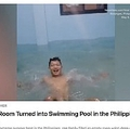 部屋に大量の水を入れてプールに!(画像は『The Weather Channel 2020年5月13日付「Empty Room Turned into Swimming Pool in the Philippines」』のスクリーンショット)