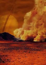 タイタンの塵嵐のイラストイメージ。(C)NASA / ESA / IPGP / Labex UnivEarthS / University Paris Diderot