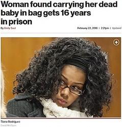 バッグから男児の遺体が。当時17歳の母親に懲役16年(画像は『New York Post 2018年2月22日付「Woman found carrying her dead baby in bag gets 16 years in prison」(David McGlynn)』のスクリーンショット)