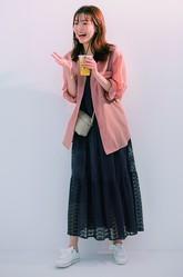 「マキシワンピ×ピンク透けシャツ」で大人ガーリーな印象に♡【明日のコーデ】