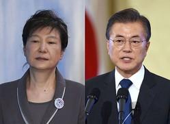 韓国で「親日派の娘」と非難された朴槿恵・前大統領と、「親日残滓の清算」を訴える文在寅・現大統領(AFP=時事)