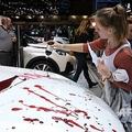 展示車に「血」ベルギーで抗議