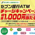 セブン銀行で交通系電子マネーにチャージすると抽選で2万人に1000円当たるキャンペーン
