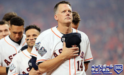 HOUSTON, TEXAS - OCTOBER 22: AJ Hinch #14 of the Houston Astros stands for the national anthem prior to Game One of the 2019 World Series against the Washington Nationals at Minute Maid Park on October 22, 2019 in Houston, Texas. (Photo by Mike Ehrmann/Getty Images)