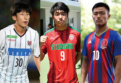 左から金子拓郎(日本大)、染野唯月(尚志高)、旗手怜央(順天堂大)。すでにJデビューを果たしているタレントも。(C)SOCCER DIGEST