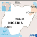 ナイジェリア北東部クカワの位置を示した地図。(c)AFP