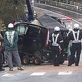 投げ出され死亡 バスに正面衝突