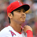 ANAHEIM, CA - MAY 20: Shohei Ohtani #17 of the Los Angeles Angels of Anaheim adjusts his jersey after walking a batter in the first inning of the game against the Tampa Bay Rays at Angel Stadium on May 20, 2018 in Anaheim, California. (Photo by Jayne Kamin-Oncea/Getty Images)