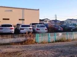 埼玉県川口市にあるS社の駐車場。吹きさらしの広大な空き地に高級車が並んでいる