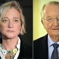 デルフィーヌ・ボエルさん(左、2018年4月26日撮影)とベルギーの前国王アルベール2世(2013年7月3日撮影)。(c)ERIC LALMAND / Belga / AFP