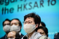 香港の林鄭月娥(キャリー・ラム)行政長官。(2020年5月22日撮影)。(c)Anthony WALLACE / AFP