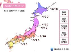 平年並みかちょっぴり早め。2019年の桜の開花・満開予想が早くも発表されました