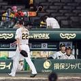 9回、勝ち越しを許しベンチに戻る藤川を見つめる矢野監督(撮影・山口登)