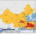 中国全域に出された黄色警報(右、外交部提供)=(聯合ニュース)≪転載・転用禁止≫