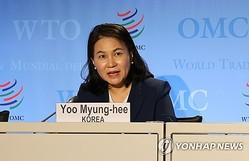 7月16日にWTOの一般理事会で演説後、会見を行った兪氏=(聯合ニュース)