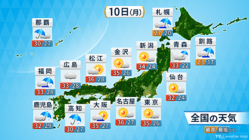 10日の天気予報。